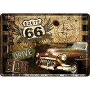 Route 66 Road Trip - Blechpostkarte