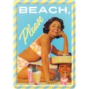 Beach, Please - Blechpostkarte