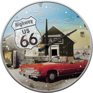 Highway 66 The Mother Road - Wanduhr